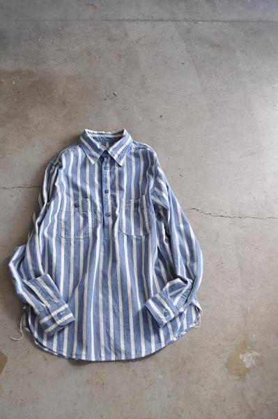 kapital/キャピタル シャンブレーストライプ ワークプルシャツ