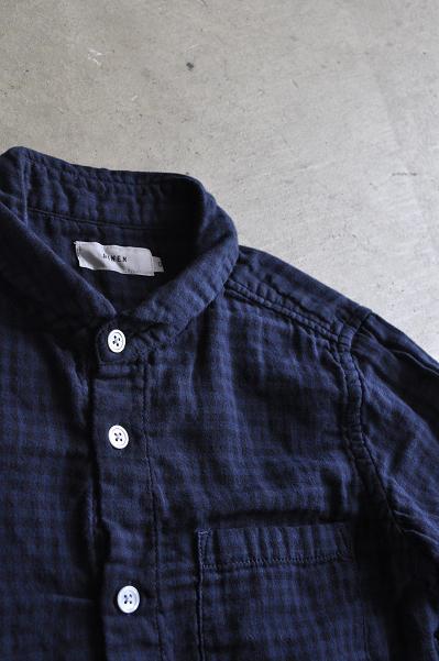 RINEN/リネン 40/1オーガニックダブルガーゼ ギンガムチェックラウンドカラーシャツ