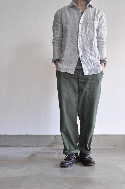OMNIGOD/オムニゴッド ワイドスプレッドカラー ストライプリネンシャツ
