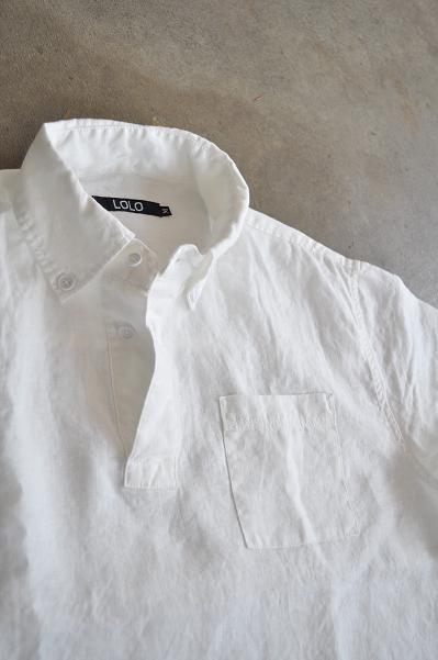 LOLO/ロロ 麻 BDプルオーバー三本針 半袖シャツ