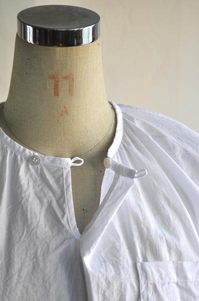 ゴーシュ 100/1 ツイル ギャザーネック プルオーバーシャツ