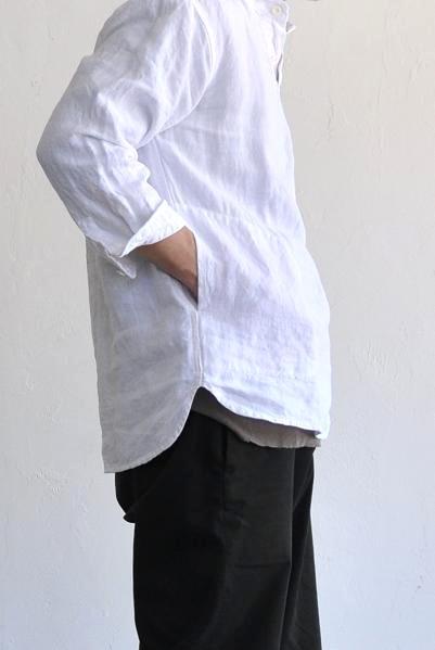 jujudhau/ズーズーダウ リネンシャツ/3/4 P.O SHIRTS(LINEN WHITE)