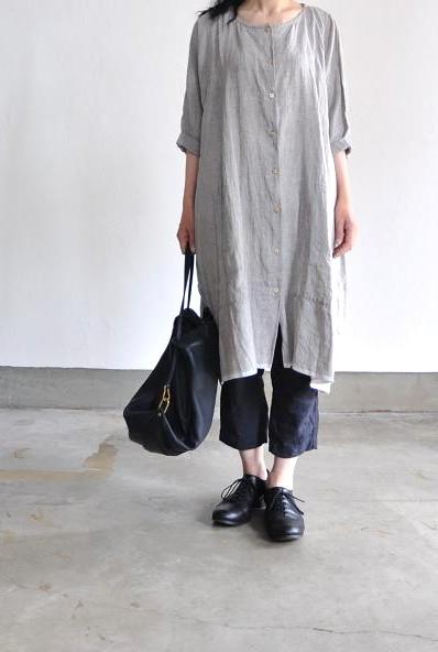 jujudhau/ズーズーダウ PATCH UP DRESS(LINEN CHAMBRAY)
