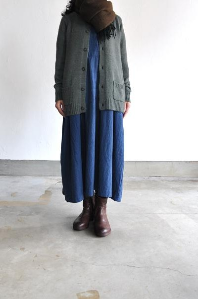 jujudhau/ズーズーダウ TUCK DRESS(W/C NAVY CHECK)